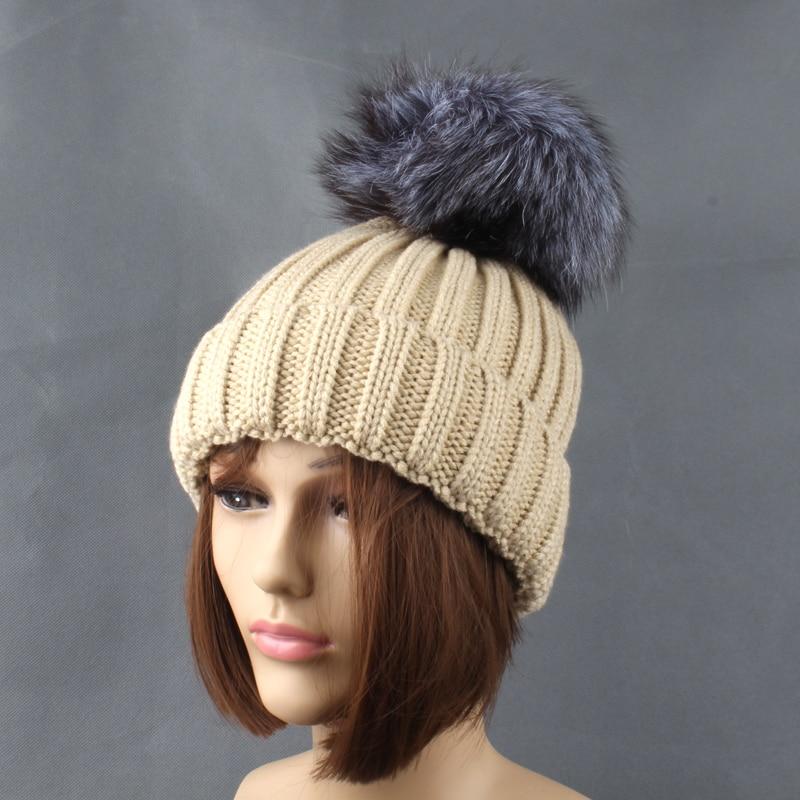 Winter Silver Fox Fur Hats For Women Ensfarget tykk Strikkede beanie - Klær tilbehør - Bilde 6