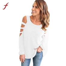FEITONG Women Shirts Loose Long Sleeve Tops Shoulder Blusa New Autumn Pullover Casual O-Neck Clothes For Women Fashion T-shirt