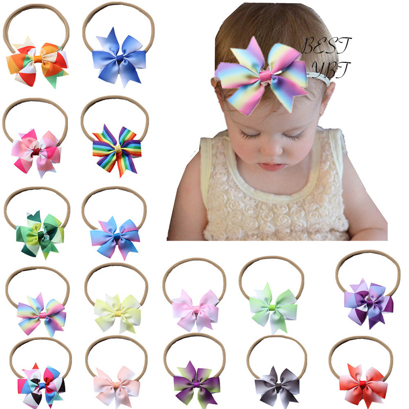 Fashion Childrens Handmade Rainbow Bow Tie Flower Headband Lovely Girls Elastic Hair Band