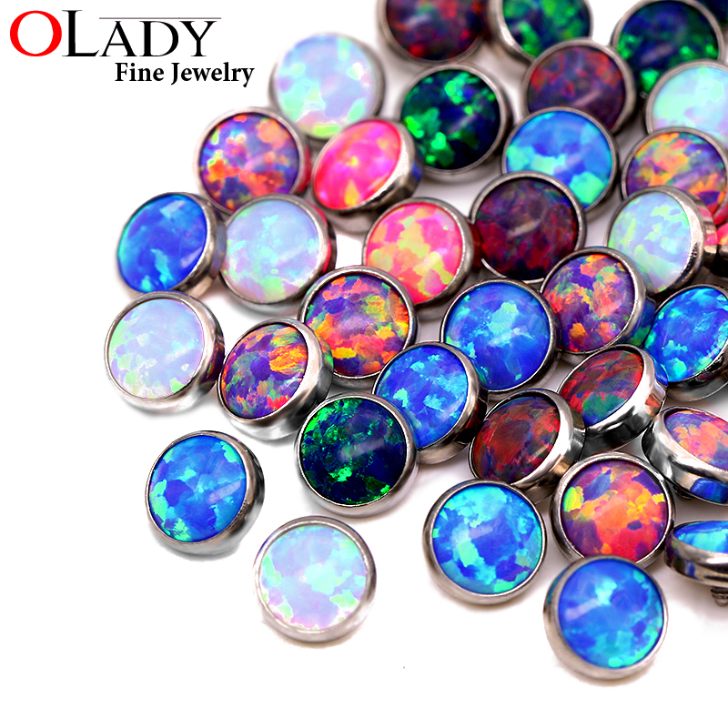 Dermal Anchor Opal Top Micro Skin Diver Dermal G23 Titanium piercing body Jewelry attachments-jewelled disc