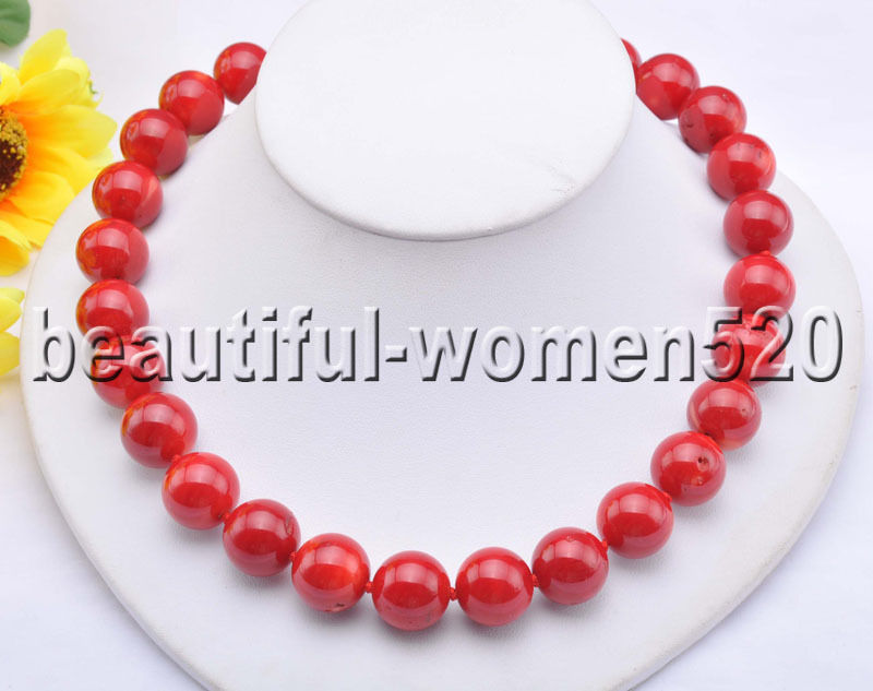 Z8307 AAA+ Natural 16mm Red Round Coral bead Necklace CZ Cougar 18inch