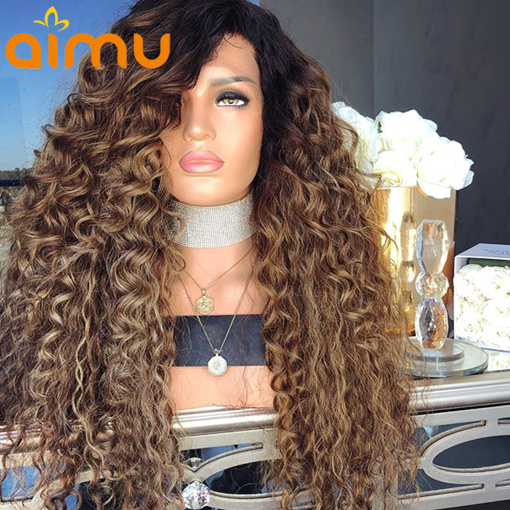 13X6 Pre Plucked Honey Blonde Curly Ombre Human Hair Lace Front Wig With Baby Hair 250