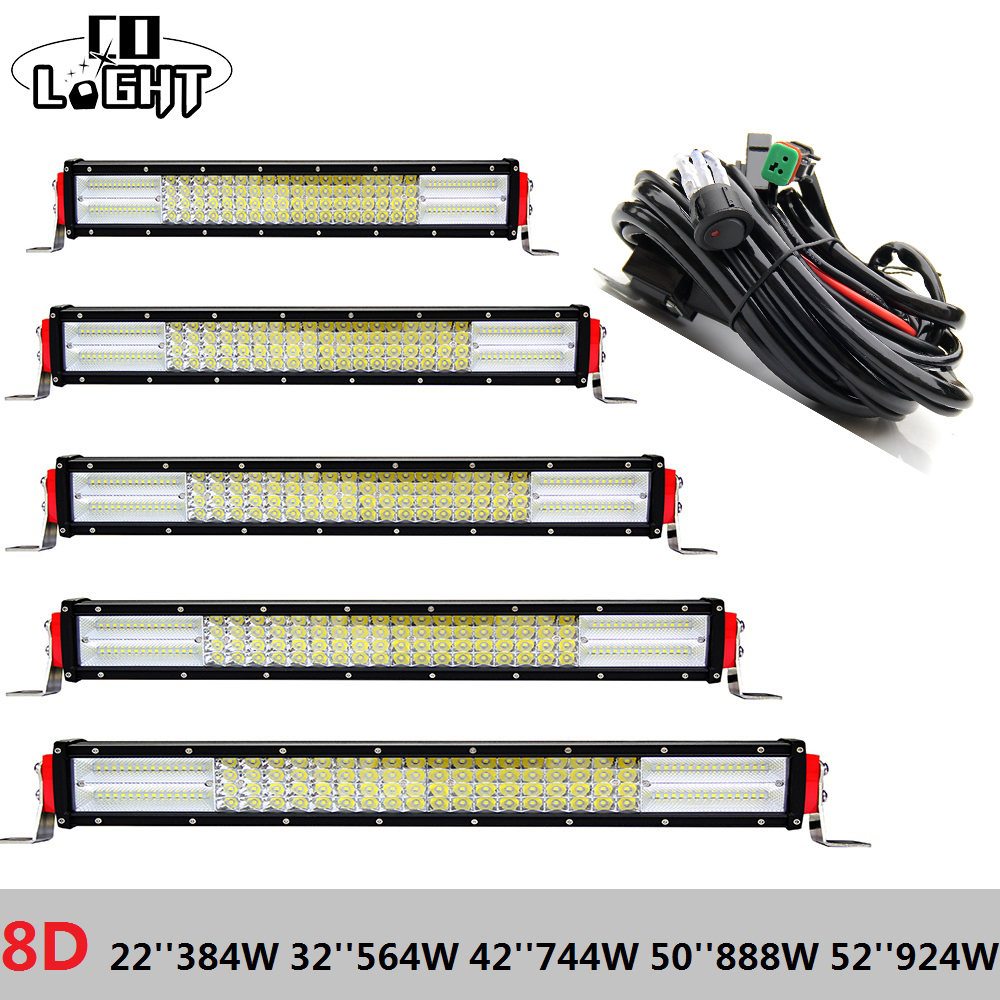 CO LUCE Led Bar 22 pollice 32 42 50 52 ''8D Rampe Led 4-File Light Bar per off Road Jeep Wrangker Jk Lada Niva 4X4 Hunter Trattore