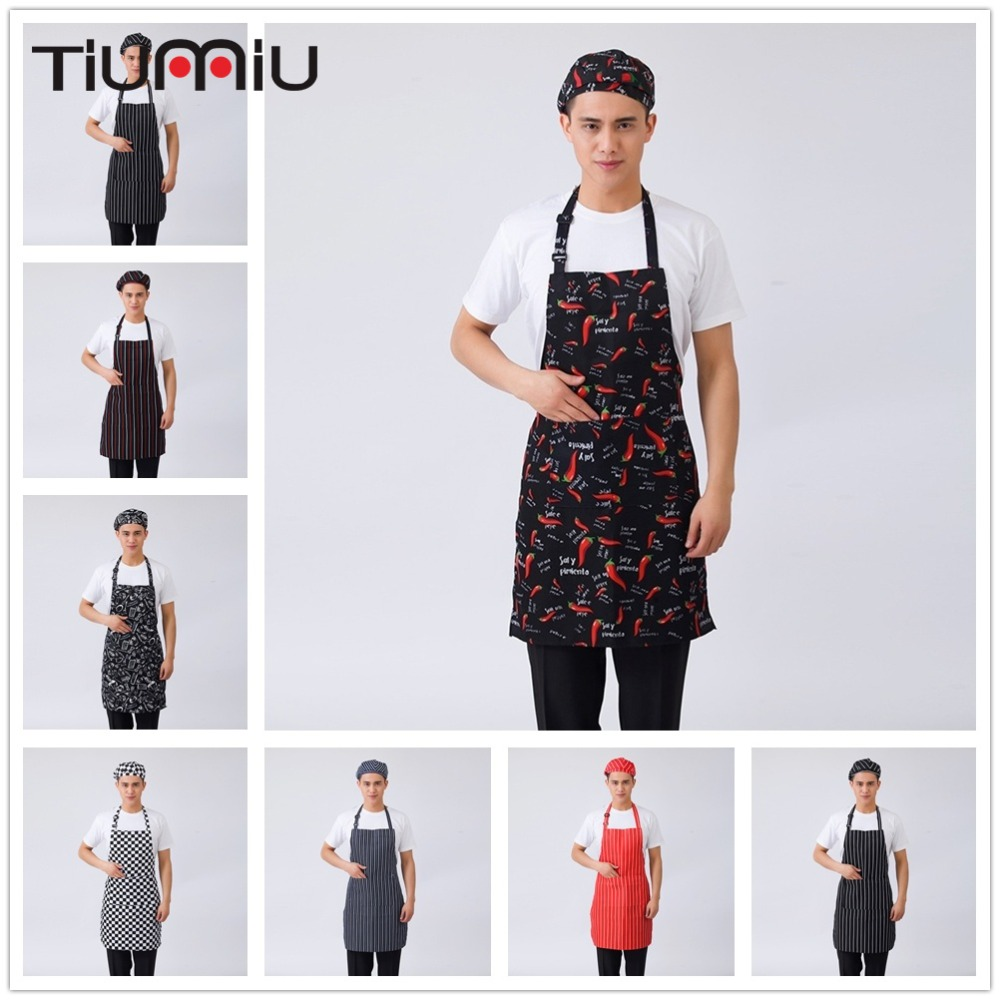 7 Colors Chef Aprons Grid Striped Chili Forks Print Unisex Kitchen Hotel Coffee Shop Bakery Waiter Work Wear Apron Chef Uniforms