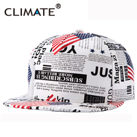 New Amrican USA Flag Newspaper Graffit White Cap PU Leather Baseaball Snapback Hat Cap For Men