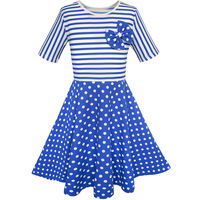 Sunny Fashion Girls Dress Dot Bow Tie Short Sleeve Summer Beach Sundress 2017 Summer Princess Wedding