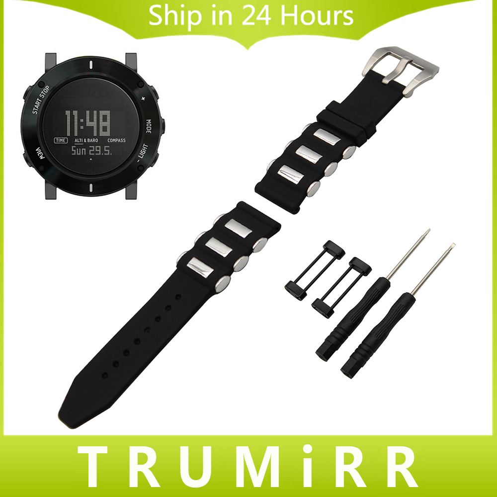 24mm Silicone Rubber Watch Band Lug Adapter Tool for Suunto Core 316L Brush Stainless Steel Buckle