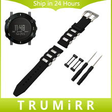 24mm Silicone Rubber Watch Band + Lug Adapter + Tool for Suunto Core 316L Brush Stainless Steel Buckle Strap Wrist Belt Bracelet