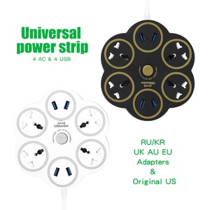 Image 2 - Urbantin 4AC Outlets 4USB Outputs Fast Charging Power Strip Smart Universal socket With Multinational Adapter Round Power Stri