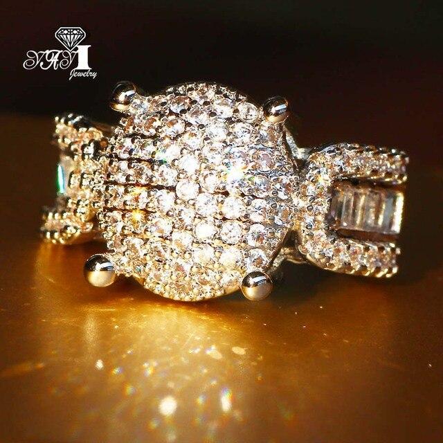 YaYI Jewelry Fashion Princess Cut 4.5 CT White Zircon Silver Color Engagement Ri