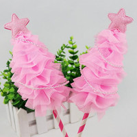 Sweet Lace Star Christmas Tree Cake Toppers Dessert Cupcake Cake Flag Birthday Cake Decoration Accessory Party Suppliesnavidad