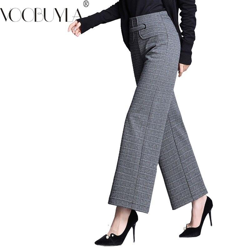 Voobuyla Wide Leg Pants Women Elegant Casual woolen Wide Trousers Pantalon Mujer 2019 Spring Big Size High Waist Womens Pants