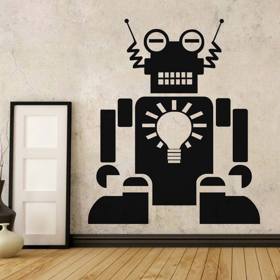 Robot Art Bulb Lighting Wall Sticker Cool Robot Design For Kids Rooms Bedroom Self Adhesive Wallpaper Home Decoration
