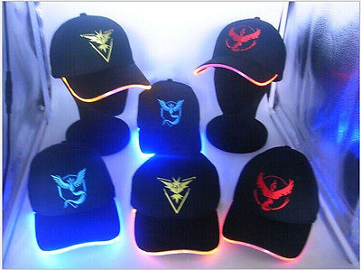Pokemon Go Baseball Caps for Women Mens Fitted Hats Glow In The Dark New Arrival Embroidery Caps Bling LED Club Party Hat
