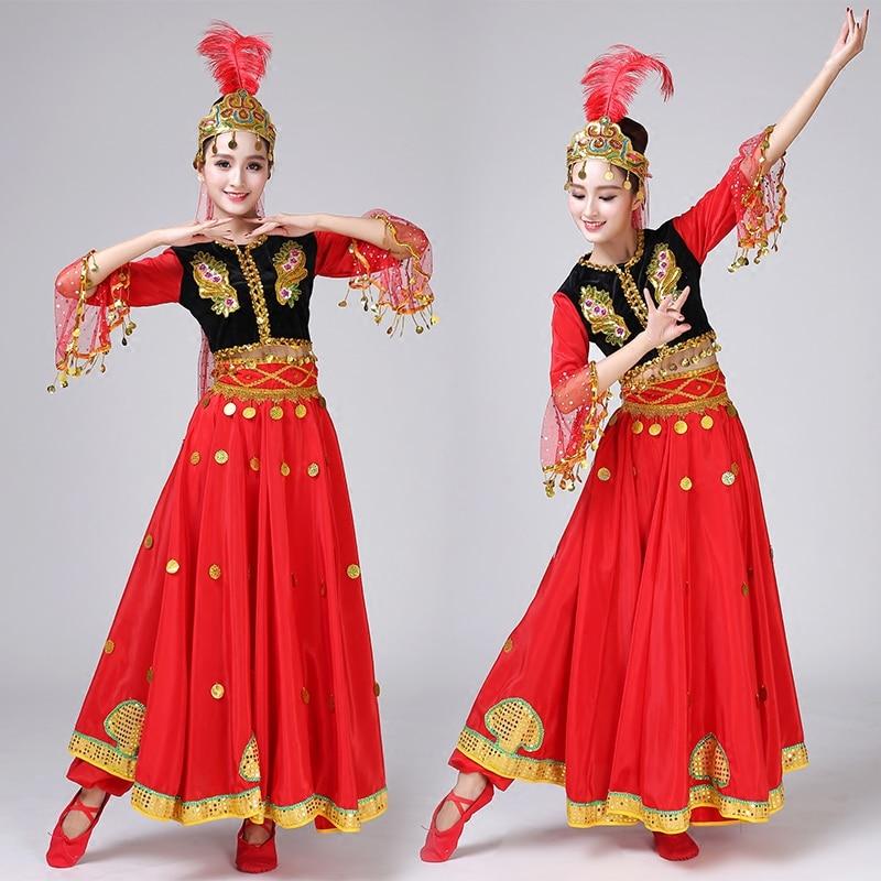 c05e5e385 Wholesale Chinese Folk Dance Xinjiang Dance Costume Children s Performance  Costumes Girls Stage Show Dresses ...