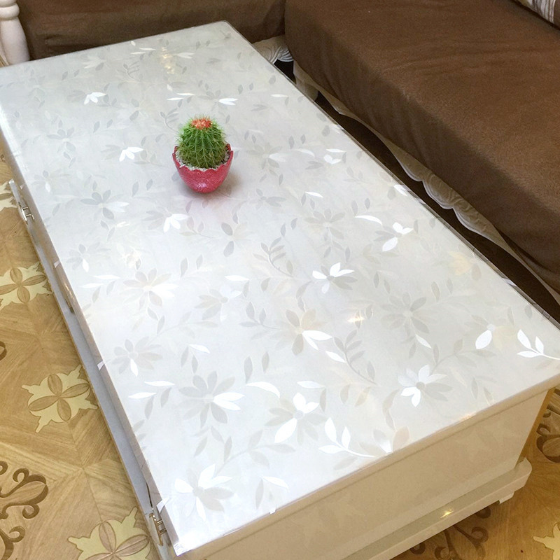 kitchen home crystal waterproof soft glass floral anti scald Dining transparent rectangular PVC table cloth placemat cover mat in Tablecloths from Home Garden