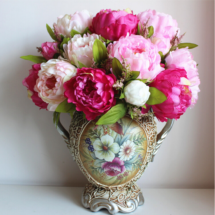 artificial flower arrangements for dining room table heads large silk peony bridal bouquet arrangement wedding party home decorations flowers how to make arrangemen
