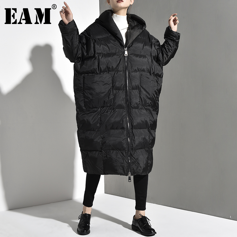 [EAM] 2019 New Autumn Winter Hooded Long Sleeve Black Thick Big Size Long Warm Cotton-padded Jacket Women   Parkas   Fashion JD1210