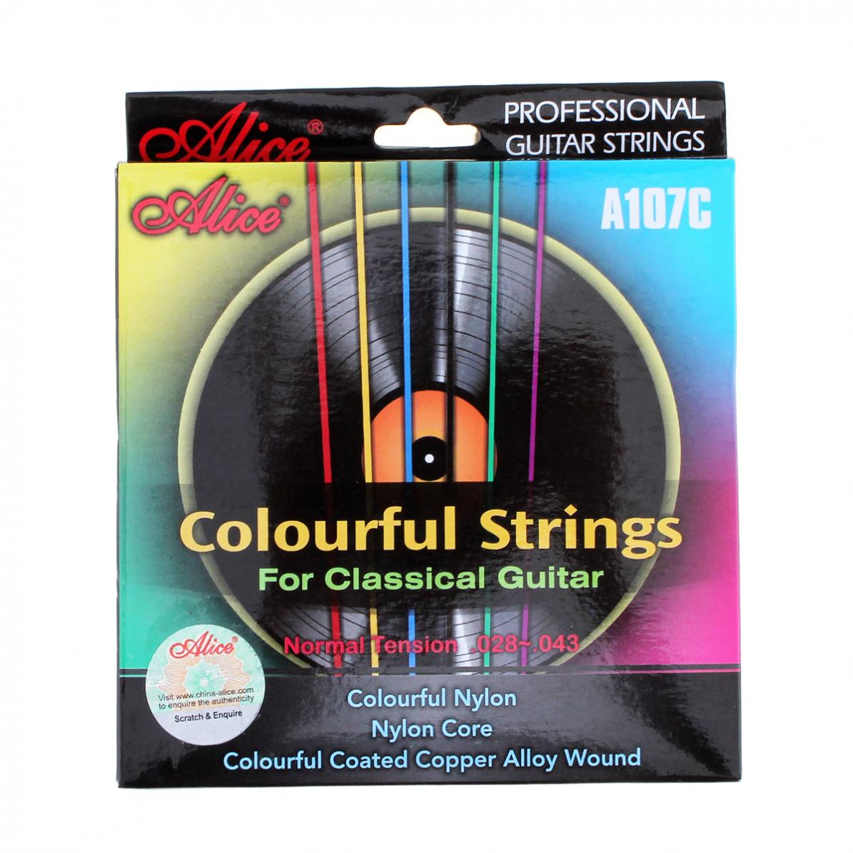 6pcs/set Colorful Strings Classical Guitar Strings 028 - 043 inch Nylon Coated Copper Alloy Wound Musical Instrument Accessories