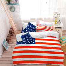 American Flag Bedding Set Independence Day Star Striped Duvet Cover Patriot Theme Quilt Pillowcase Bedclothes 3Pcs