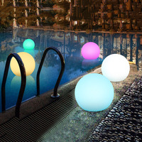 Thrisdar Swimming Pool Ball Light With Remote RGB Submersible Light Underwater Lamp IP68 Bathroom underwater Pond Pool Spa Light