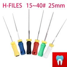 6 шт. 15~ 40#25 мм зубные ПроТейпер файлы H корневой канал стоматолога материалы Стоматологические инструменты ручного использования нержавеющая сталь H файлы