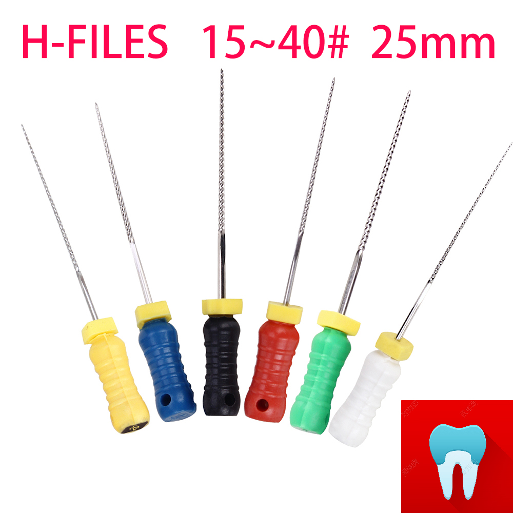 6pcs 15~40# 25mm Dental Protaper Files H Root Canal Dentist Materials Dentistry Instruments Hand Use Stainless Steel H Files