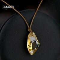 3 kolory 2.5*2 cm proste kobiety biżuteria żółty naszyjnik kamienie Wysokiej jakości kobiet biżuteria Austria miłośników pary prezent