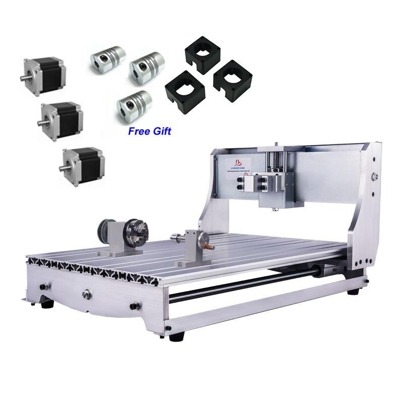 4 Axis Aluminum 6040 CNC Frame Kit Engraving Machine Rack with 3pcs Couplings NEMA 23 57 stepper Motor Bracket