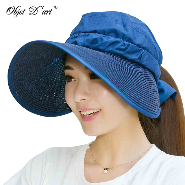 Moda Hot Sun Chapéus de Aba Larga Das Mulheres Cor Sólida Pescoço Rosto  Proteção Cap Floppy a38d611c2e3
