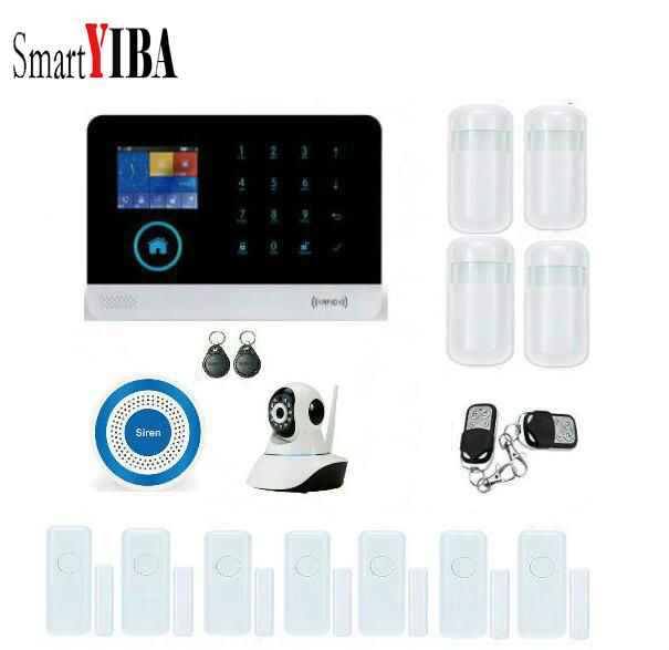 SmartYIBA IOS Android App Control Door Sensor PIR Motion Sensor WIFI Camera Intelligent Security Alarm System Support 2G Signal цены онлайн