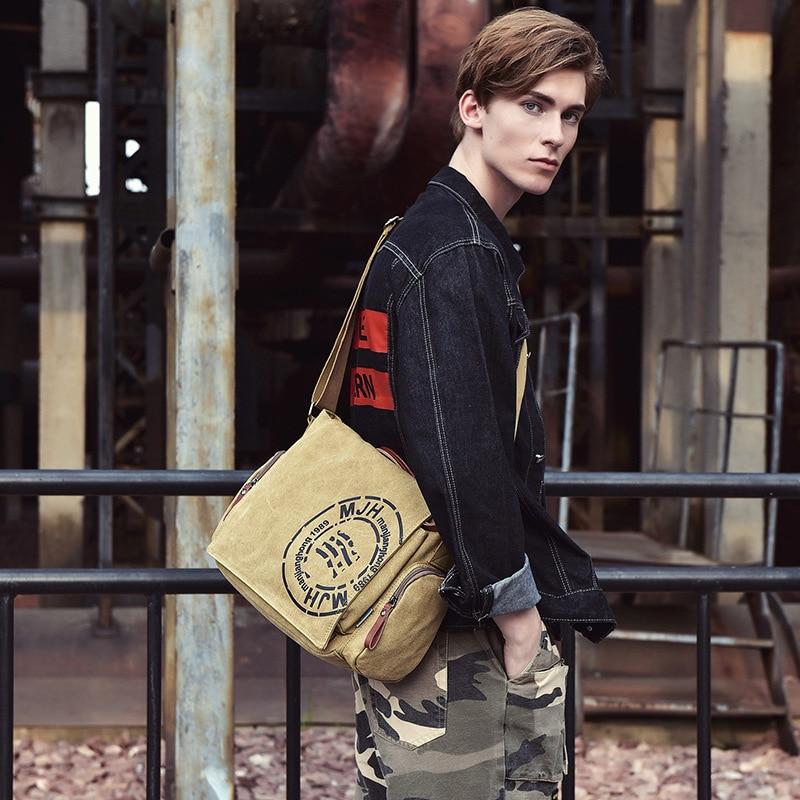 MANJIANGHONG Vintage men's Messenger bag man Handbag Canvas Shoulder postman Bag Men casual Crossbody Printing Messenger bags