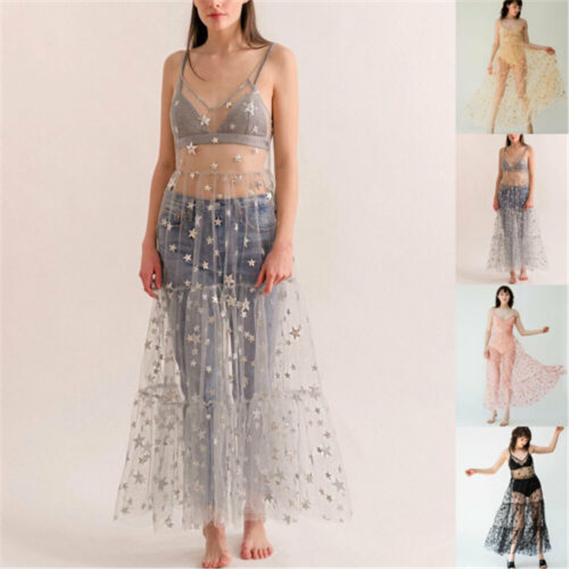 2019 Summer Women's Spaghetti Straps Tulle Long Women Dresses Fashion Bling Sparkely See Through Mesh Dress