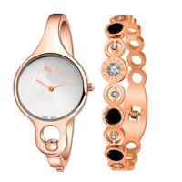 XINGE 2 Pcs Women Gold Rose Rhinestone Bangle Watch Bracelet Set Lady Dress Watch