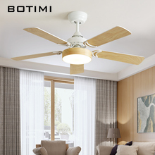 Botimi Modern 220V LED Ceiling Fan For Living Room Ventilador de techo Wooden Ceiling fans with Lights Blades Lighting Fixture цена и фото