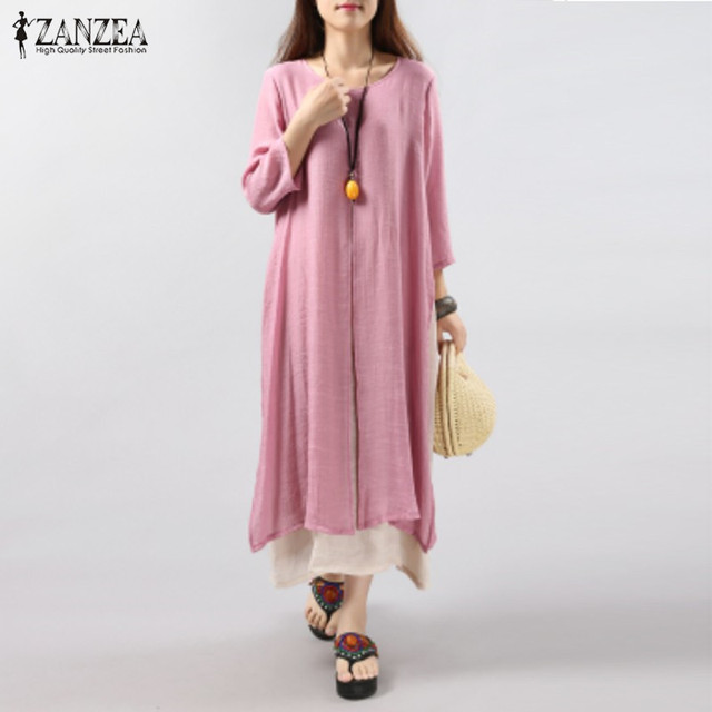 ZANZEA Mujeres 2016 Verano Otoño Vintage Cotton Linen Elegante Vestido Flojo Ocasional 3/4 de Manga Mitad de la pantorrilla Más Tamaño Vestidos