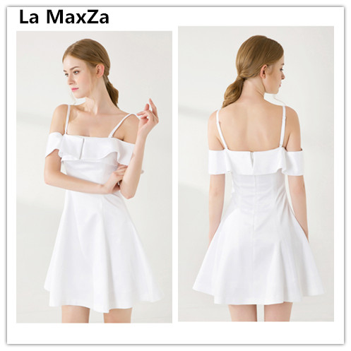 The MaxZa femmes robe décontracté 2019 satin soirée club vêtement sexy spaghetti sangle bustier à volants blanc robes de soirée vêtements de dame