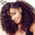 7A перуанский необработанные девственные волосы парик странный вьющиеся человеческих передние волосы парик 100 человеческих волос парики для