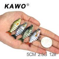 Kawo pesca swimbait glide natação 5cm 2.5g atração dura 6 segmento isca de pesca culter água doce alta qualidade peixe isca