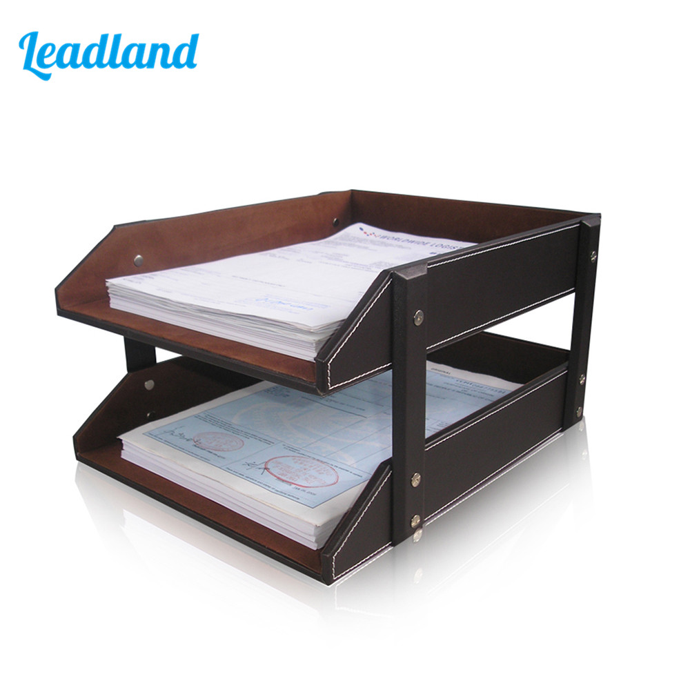 A4 Document File-Tray Rack File Organizer Double Layers Desk PU Leather For Office
