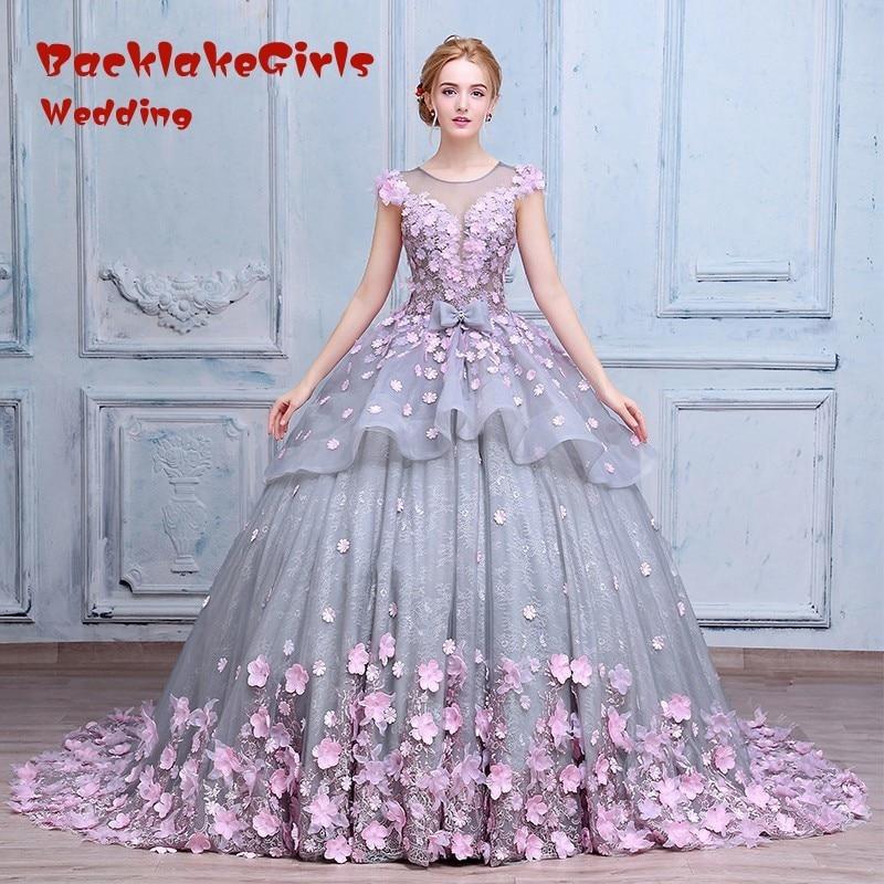 Pink font b Wedding b font font b Dress b font with Pink Appliques Luxury font