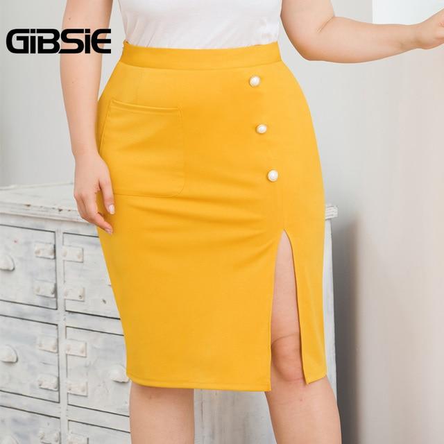 GIBSIE Plus Size Solid Elegant Pocket Side Button Women Skirt Knee-Length Bodycon Split Skirt Office Lady High Waist Midi Skirts 1