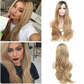 Glueless Synthetic Lace Front Wig Ombre Blonde Wig Dark Root Long Body Wave Hair Wig Heat Resistant Cheap Female Lace Front Wig
