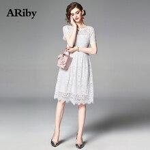 ARiby Women Lace Elegant Dress 2019 Summer Office Lady Temperament White Hollow Slim Short Sleeve Knee-Length A-Line