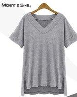 Moet She 2016 Summer Cotton Oversize Irregular Women Tops Tee Sexy Cut Out T Shirt Women