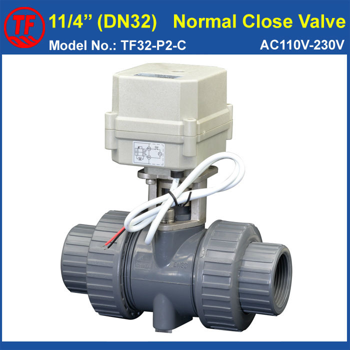 2 Way BSP/NPT 11/4'' UPVC DN32 Normal Close Valve AC110V-230V 2 Wires 10NM On/Off 15 Sec Metal Gear For Water Work CE TF32-P2-C ac110 230v 5 wires 2 way stainless steel dn32 normal close electric ball valve with signal feedback bsp npt 11 4 10nm
