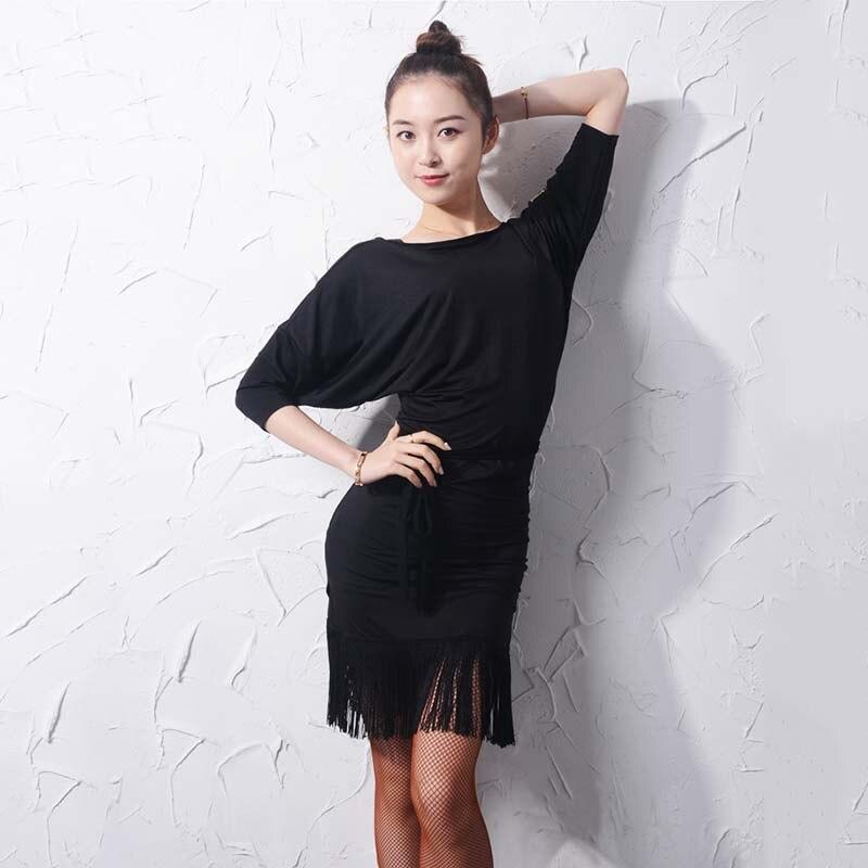 Robe de danse latine robes à franges noires manches chauve-souris adulte pratique vêtements de danse femmes Cha Cha Rumba Samba Dancewear DNV11145