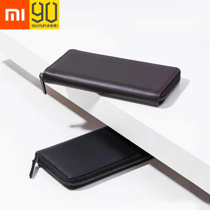 Xiaomi 90FUN для мужчин бизнес кошелек держатель для карт классический длинный из натуральной коровьей кожи против царапин