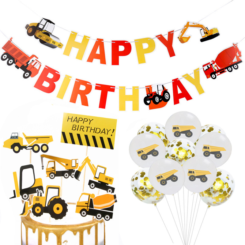 Farm Construction Truck Excavator Theme Happy Birthday Banner Confetti Balloon Cartoon Car Cake Toppers Boy Birthday Party Decor in Party DIY Decorations from Home Garden