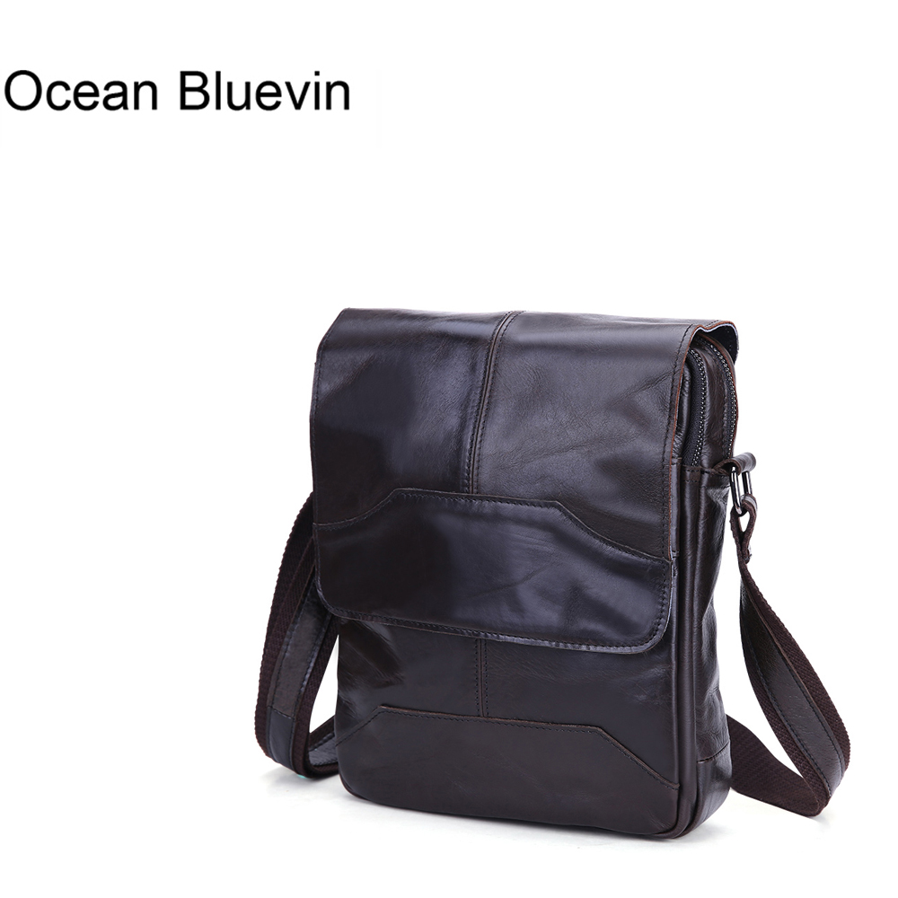 OCEAN BLUEVIN New Hot Casual Men s Small Bag Leather Shoulder Bag Genuine Leather Messenger Crossbody